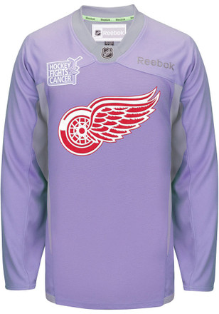 Detroit Red Wings Mens Purple Hockey Fights Cancer Jersey