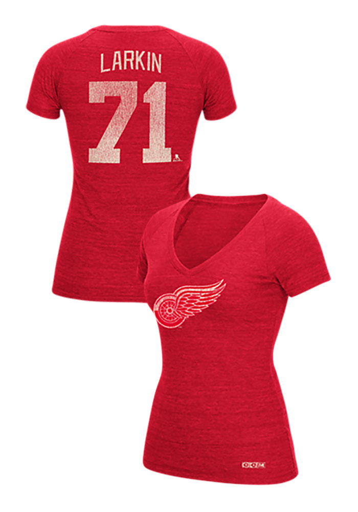 Dylan Larkin Detroit Red Wings Womens Red Her CCM Name & Number Player Player T-Shirt - Image 1