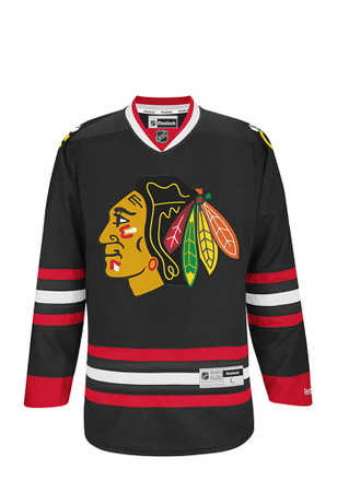 Chicago Blackhawks Mens Black Center Ice Premier Team Jersey