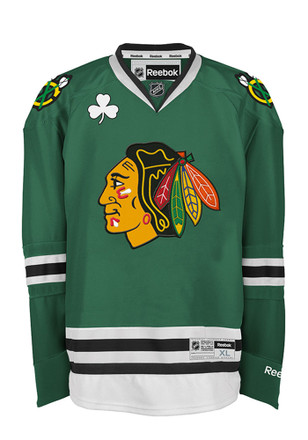 Chicago Blackhawks Mens Green Center Ice Premier Team Jersey
