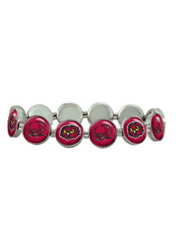 Temple Owls Womens Silver Stretch Bracelet - Red