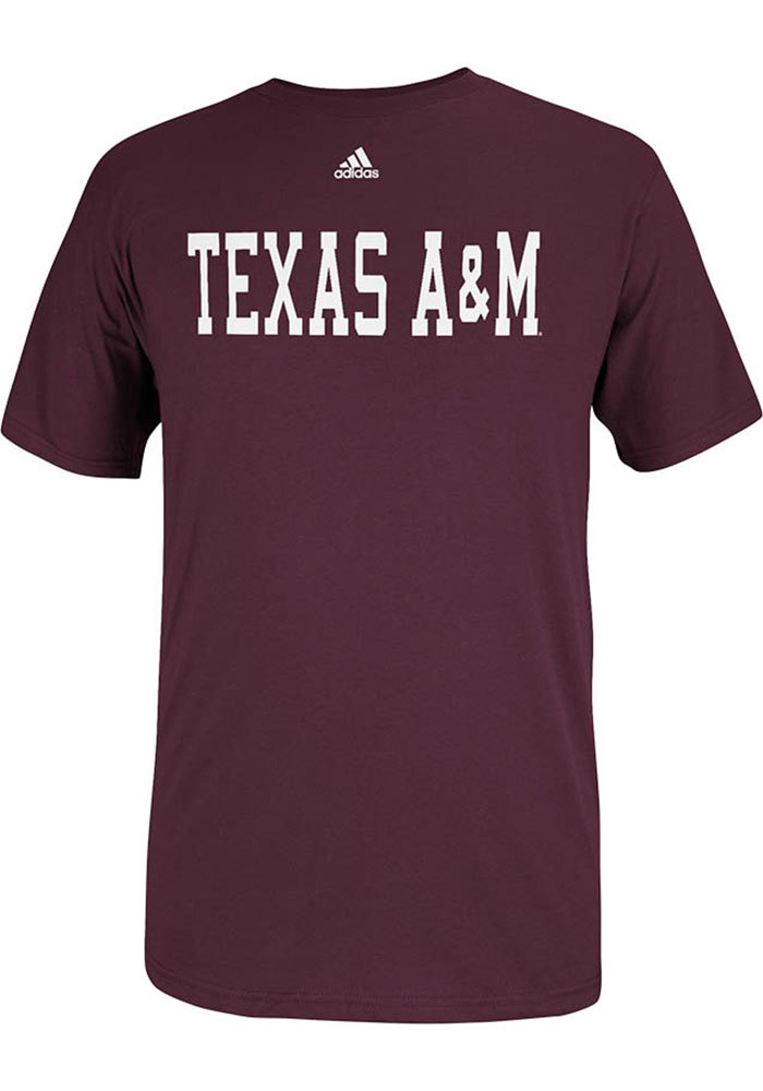 Adidas Texas A&M Aggies Maroon Team Font Short Sleeve T Shirt - Image 1