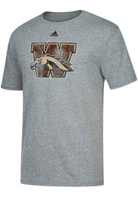 Adidas Western Michigan Broncos Grey Big Logo Fashion Tee