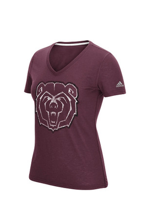 Adidas Mo State Womens Practice Football Maroon Short Sleeve Performance Tee