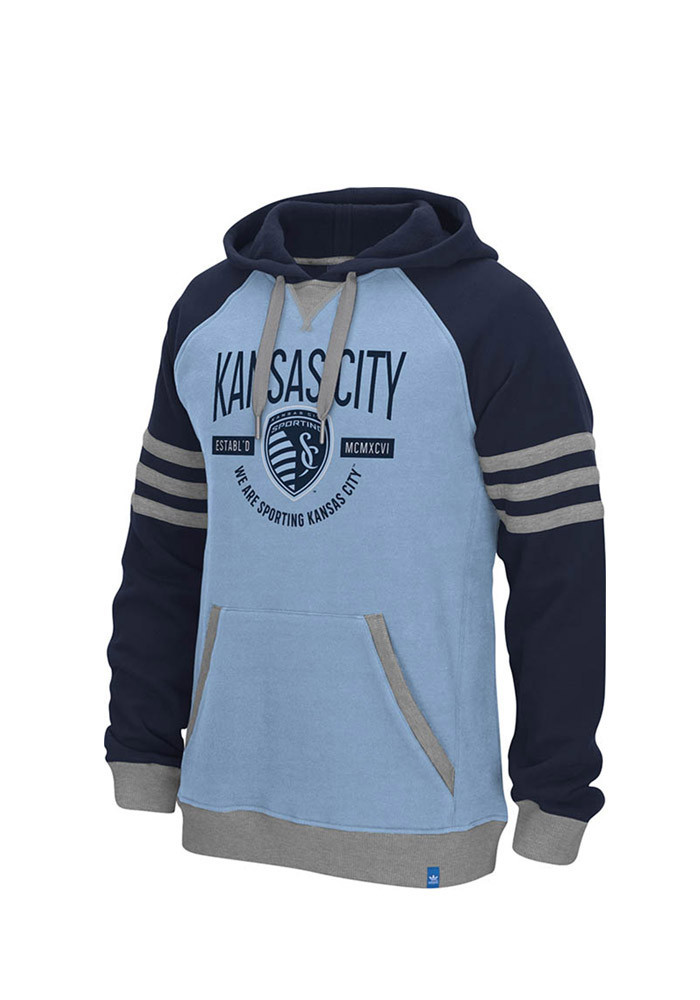 Adidas Sporting Kansas City Mens Light Blue Originals Pullover Long Sleeve Full Zip Jacket - Image 1