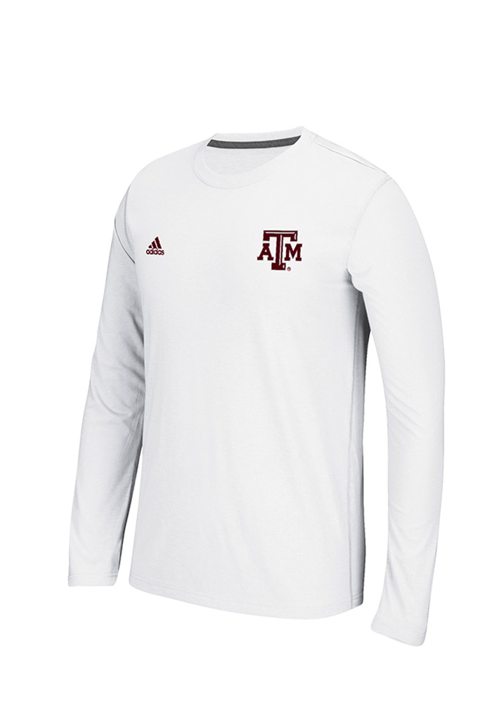 Adidas Texas A&M Aggies Mens White Primary Screen Long Sleeve T-Shirt