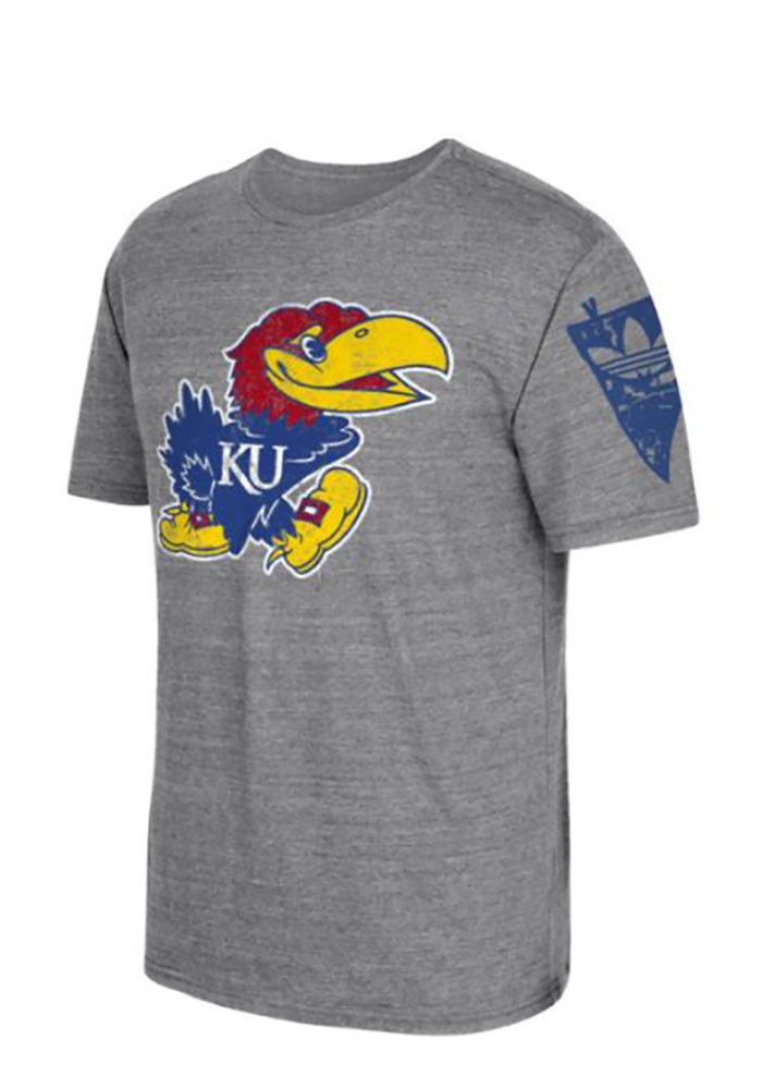 Adidas Kansas Jayhawks Mens Grey Logo Short Sleeve Fashion T Shirt - Image 1