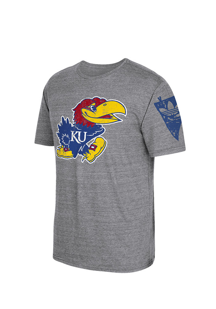 Adidas Kansas Jayhawks Mens Grey Logo Short Sleeve Fashion T Shirt - Image 2