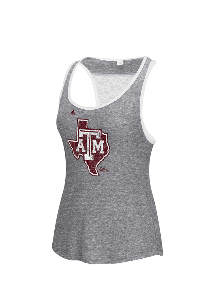 Adidas Texas A&M Aggies Juniors Grey Lace Back Tank Top - Image 1