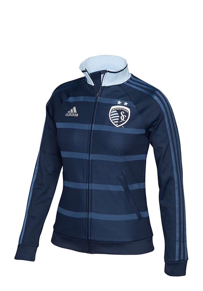 Adidas Sporting Kansas City Womens Navy Blue Anthem Track Long Sleeve Track Jacket - Image 1