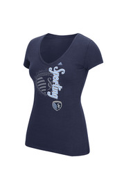 Adidas SKC Womens Navy Blue Veritcal Shift V-Neck