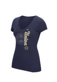 Adidas Philadelphia Union Womens Navy Blue Veritcal Shift V-Neck