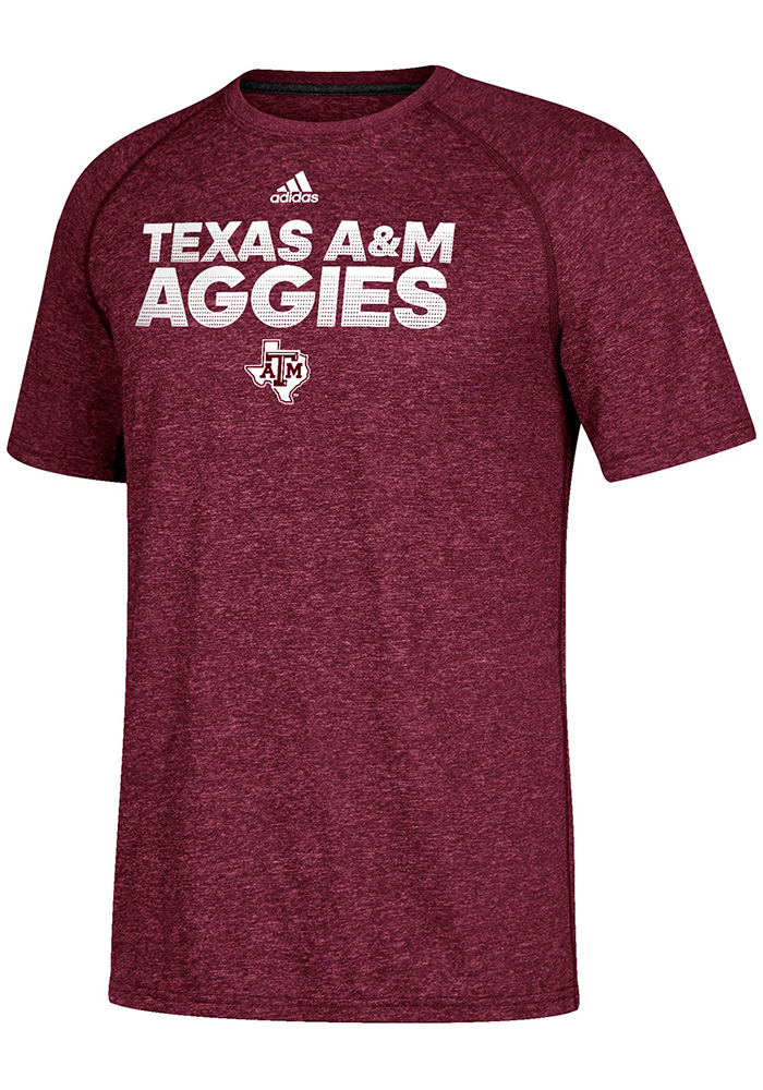 Adidas Texas A&M Aggies Maroon Sideline Hustle Short Sleeve T Shirt - Image 1