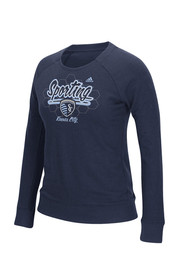 Adidas Sporting Kansas City Womens Liquid Honeycomb Navy Blue Crew Sweatshirt