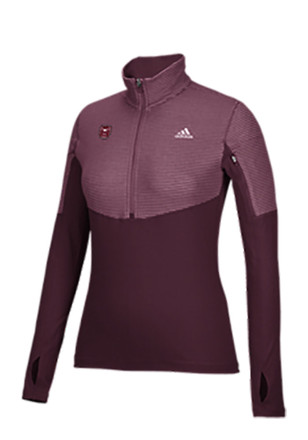 Adidas Mo State Womens Light Weight Maroon 1/4 Zip Performance Pullover