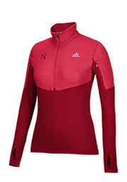 Adidas Nebraska Womens Light Weight Red 1/4 Zip Performance Pullover