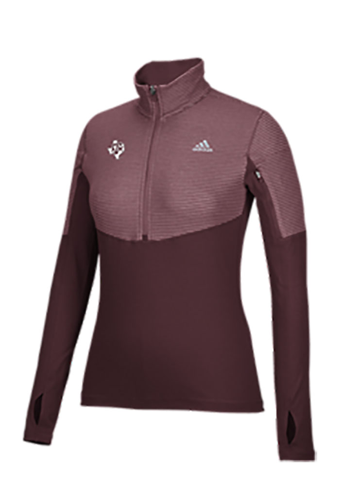 Adidas Texas A&M Womens Maroon Light Weight 1/4 Zip Pullover - Image 1
