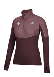 Adidas Texas A&M Womens Light Weight Maroon 1/4 Zip Performance Pullover