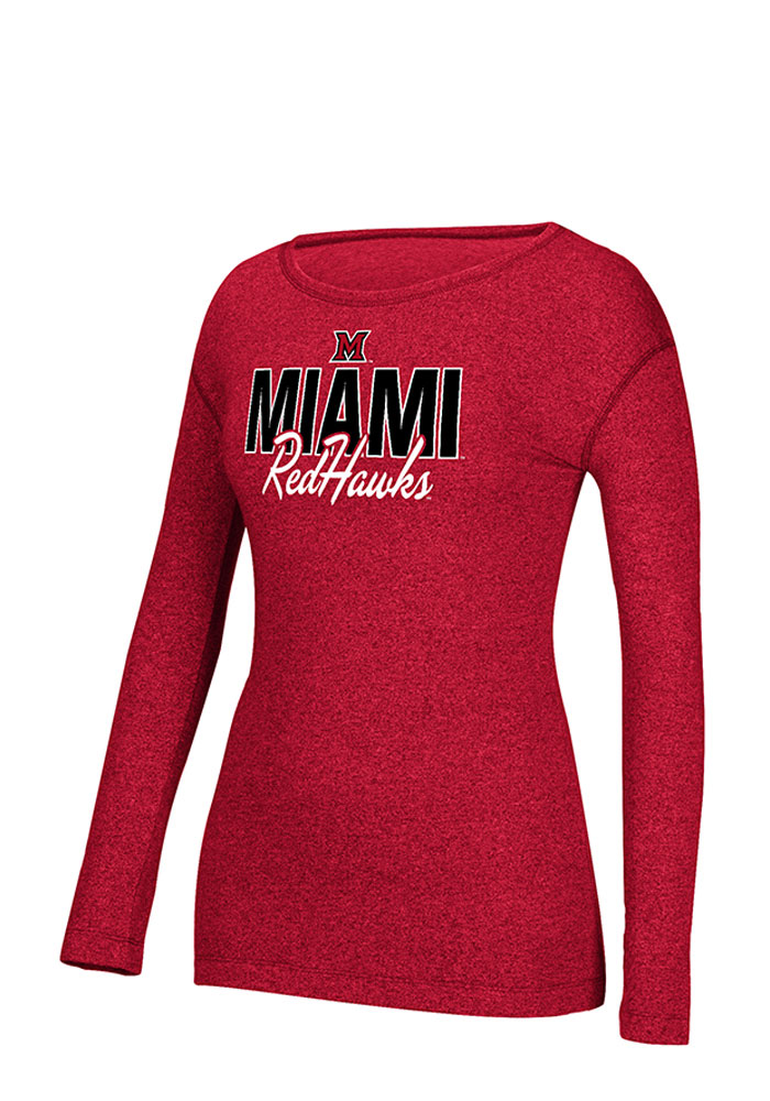 Adidas Miami Redhawks Womens Red Mascot Script Long Sleeve Crew T-Shirt - Image 1