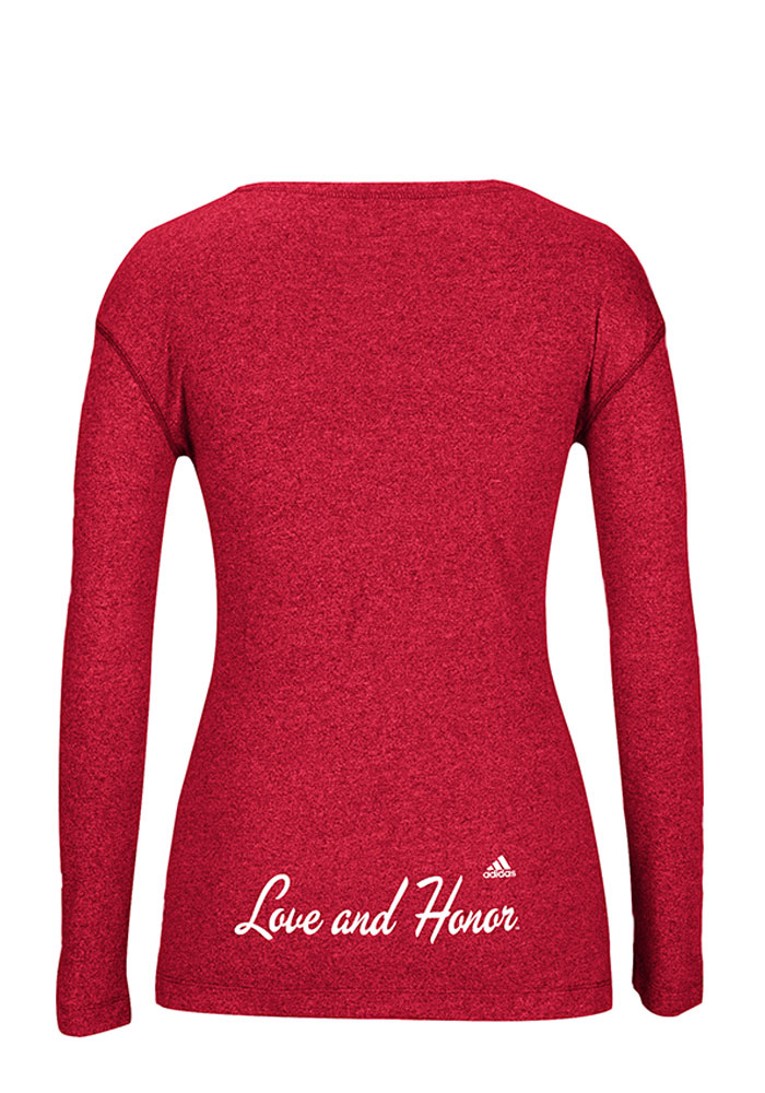 Adidas Miami Redhawks Womens Red Mascot Script Long Sleeve Crew T-Shirt - Image 2