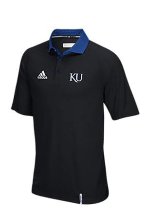 Adidas KU Jayhawks Mens Black Climachill Short Sleeve Polo Shirt