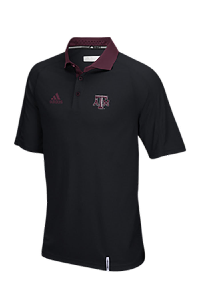 Adidas Texas A&M Aggies Mens Black Climachill Short Sleeve Polo - Image 1