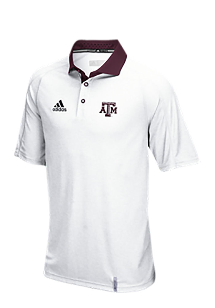 Adidas Texas A&M Aggies Mens White Climachill Short Sleeve Polo - Image 1