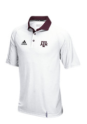 Adidas Texas A&M Mens White Climachill Short Sleeve Polo Shirt