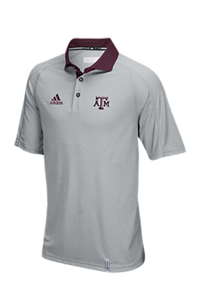 Adidas Texas A&M Aggies Mens Grey Climachill Short Sleeve Polo - Image 1