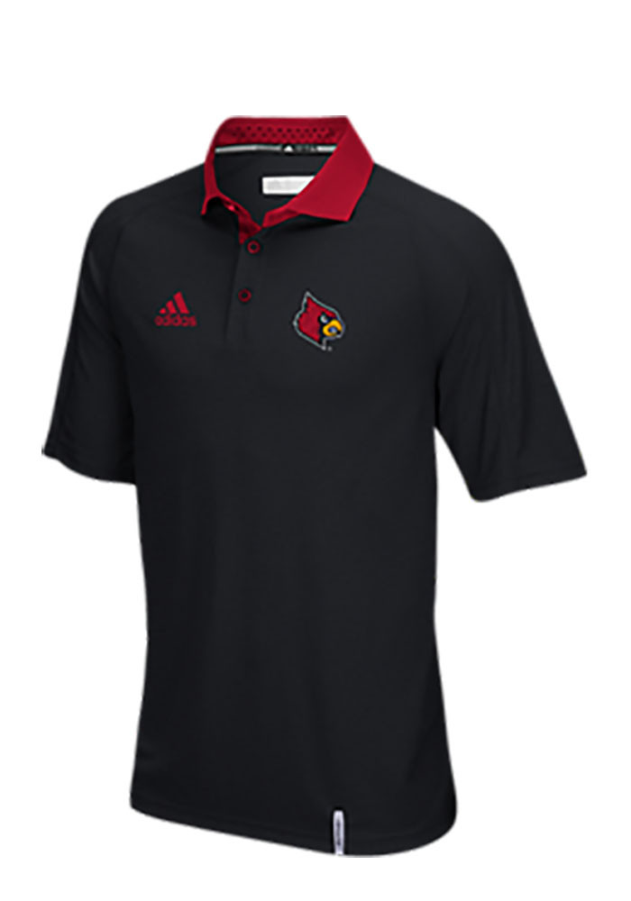 Adidas Louisville Cardinals Mens Black Climachill Short Sleeve Polo - Image 1