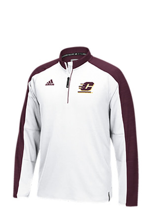 Adidas Central Michigan Chippewas Mens White Sideline 1/4 Zip Pullover