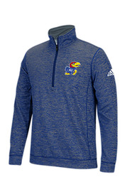 Adidas KU Jayhawks Mens Blue Training 1/4 Zip Performance Pullover