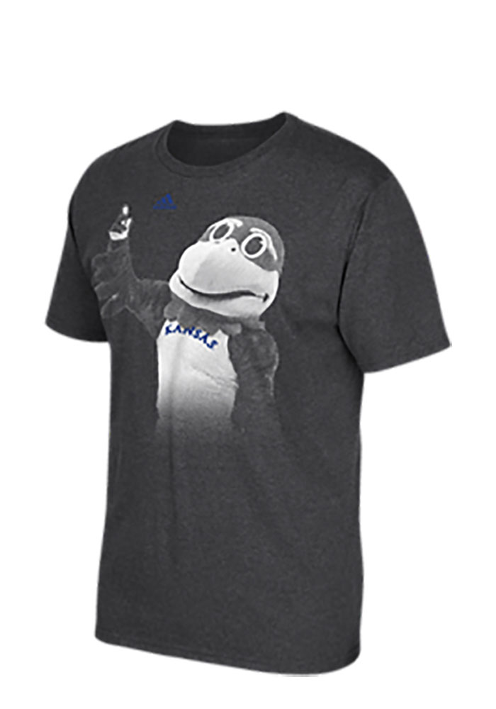 Adidas Kansas Jayhawks Mens Grey Fanatical Mascot Short Sleeve T Shirt - Image 1