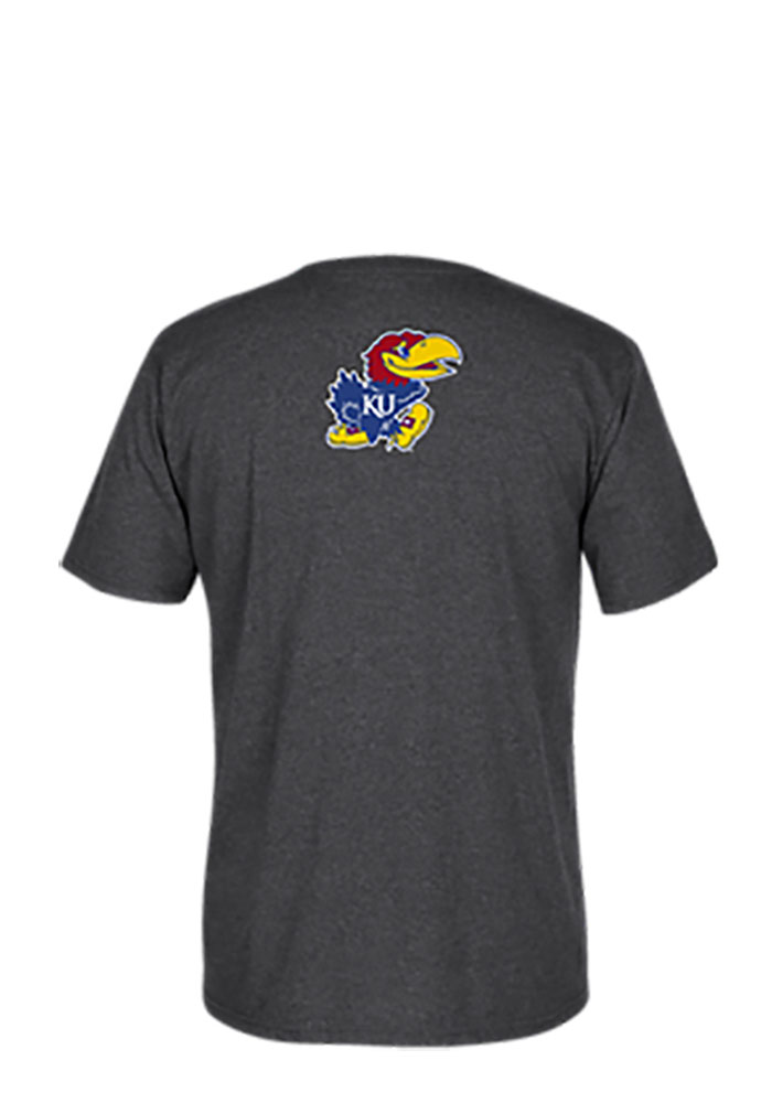 Adidas Kansas Jayhawks Mens Grey Fanatical Mascot Short Sleeve T Shirt - Image 2