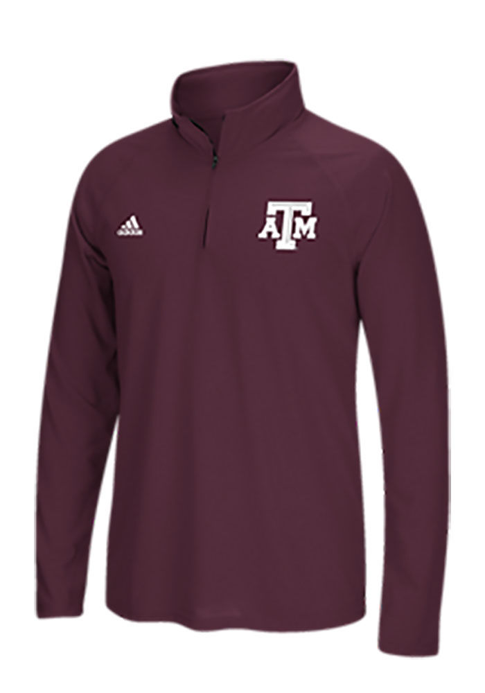 Adidas Texas A&M Aggies Mens Maroon Primary Long Sleeve 1/4 Zip Pullover - Image 1