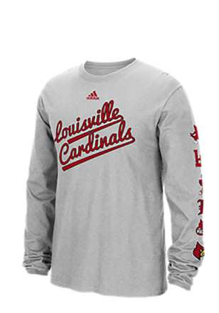 Adidas Louisville Cardinals Mens Grey Vault Evolution Tee