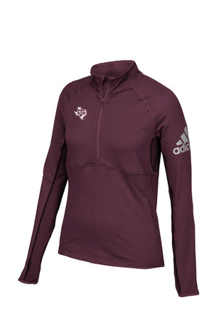 Adidas Texas A&M Womens Performer Maroon 1/4 Zip Performance Pullover