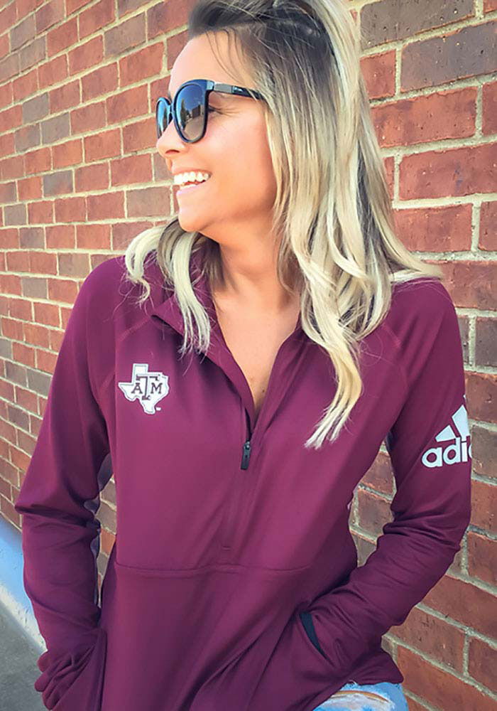Adidas Texas A&M Womens Maroon Performer 1/4 Zip Pullover - Image 3