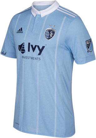 Sporting Kansas City Mens Adidas Authentic Soccer Primary Jersey - Light Blue