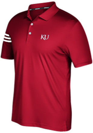 Adidas Kansas Jayhawks Mens Red 3-Stripe Short Sleeve Polo Shirt