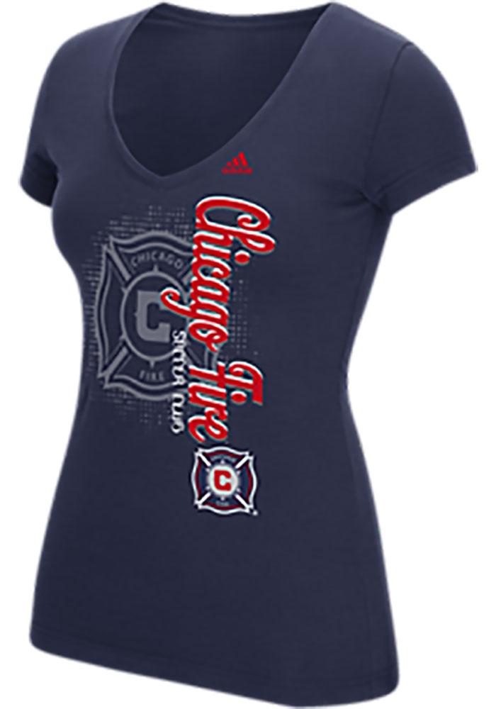 Adidas Chicago Fire Womens Navy Blue Vertical Shift V-Neck T-Shirt - Image 1