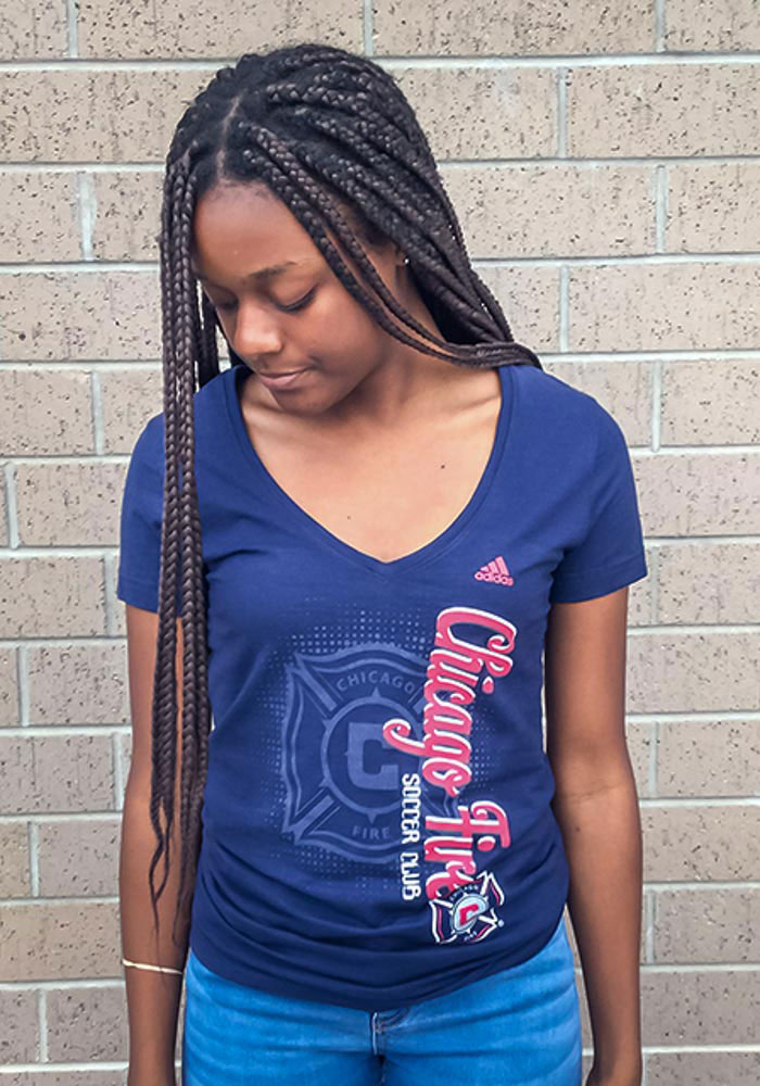 Adidas Chicago Fire Womens Navy Blue Vertical Shift V-Neck T-Shirt - Image 2