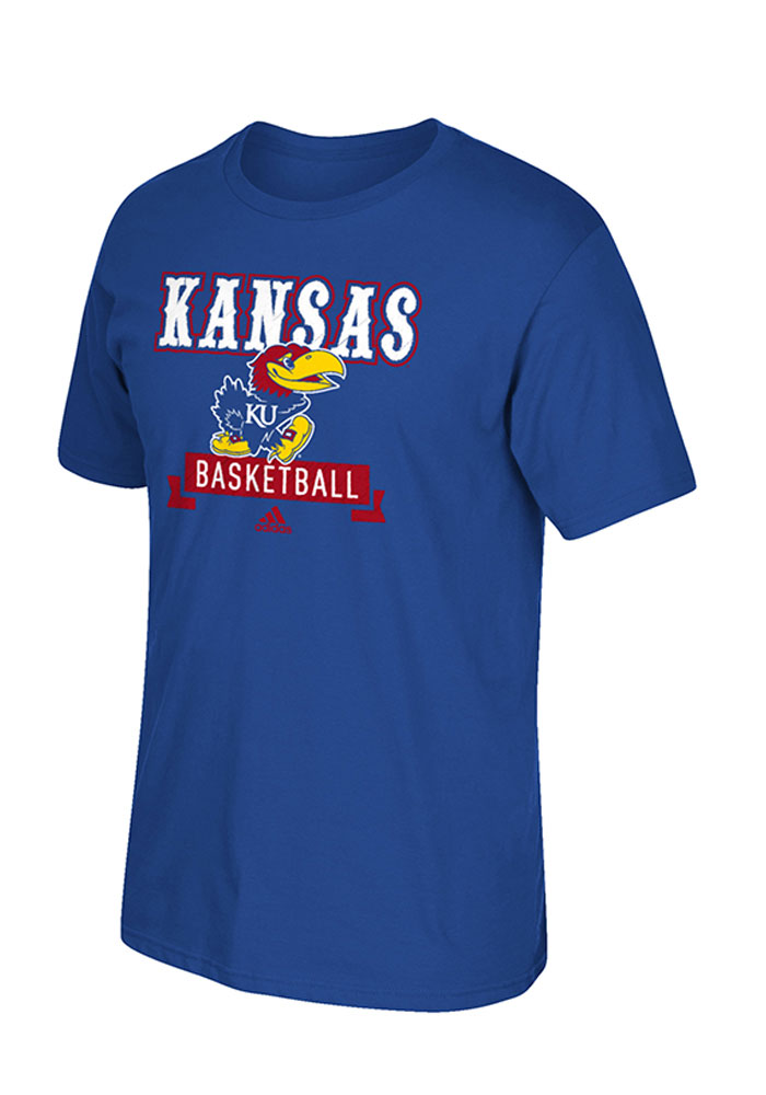 Adidas Kansas Jayhawks Blue Basketball Tee