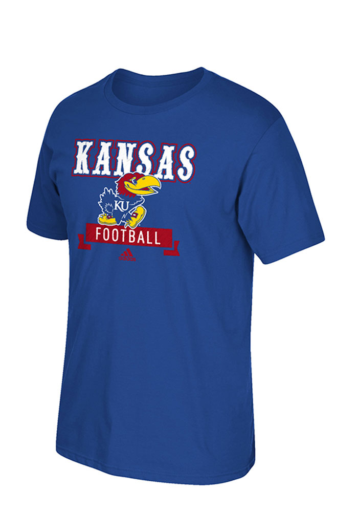 Adidas Kansas Jayhawks Blue Football Short Sleeve T Shirt - Image 1