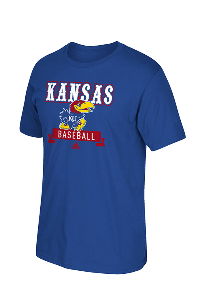Adidas Kansas Jayhawks Blue Baseball Short Sleeve T Shirt - Image 1
