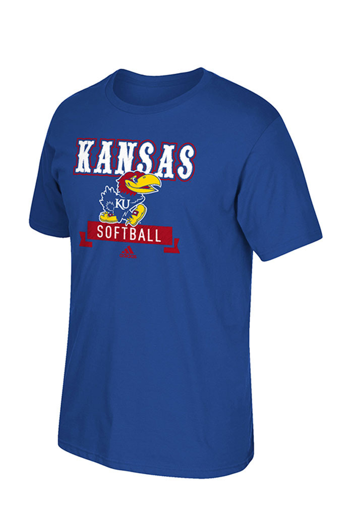 Adidas Kansas Jayhawks Mens Blue Softball Short Sleeve T Shirt - Image 1