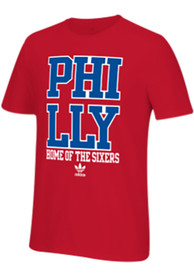 Adidas Philadelphia 76ers Red City Stack Tee