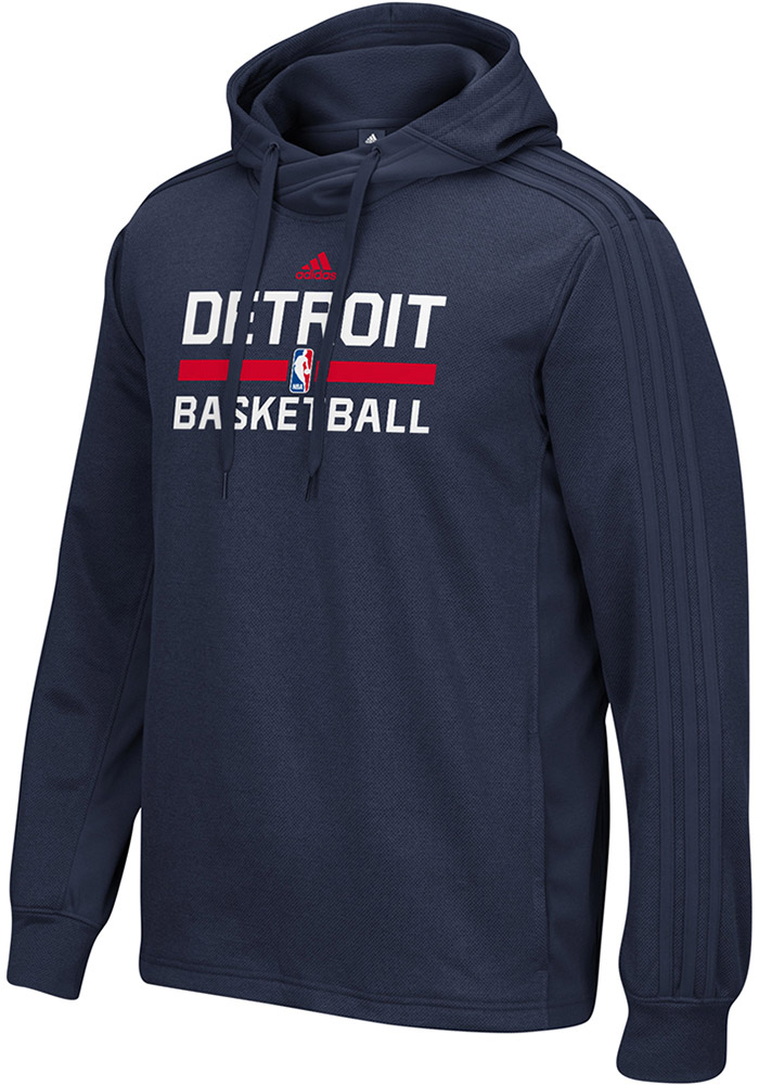 Adidas Detroit Pistons Mens Navy Blue On-Court Big and Tall Hooded Sweatshirt - Image 1