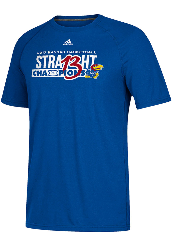 Adidas Kansas Jayhawks Mens Blue 2017 Big 12 Champions Short Sleeve T Shirt - Image 1