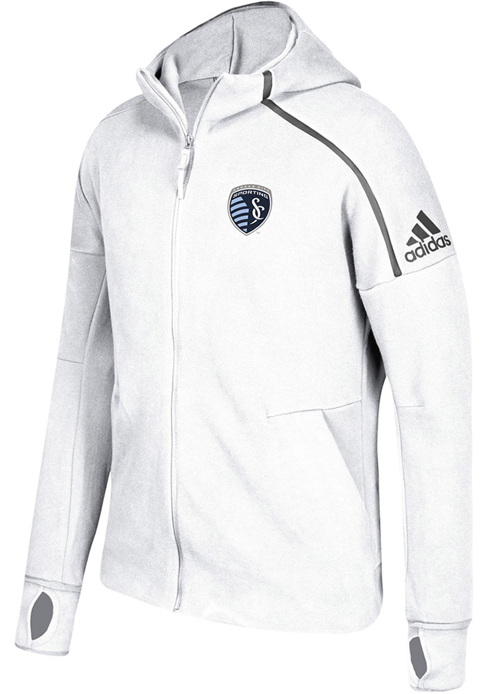 Adidas Sporting Kansas City Mens White ZNE Hood Zip Fashion